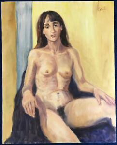 """Large Original Oil Portrait From Life—NUDE OF A BALLET DANCER—Signed """"Grill"""""""