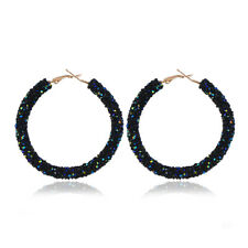 1Pair Glitter Crystal Circle Hoop Earrings Women Ear Pendant Jewelry Accessories
