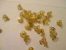 400 Gold  Plated Basket 5 x 6 mm  Bead Caps    Expandable   G42