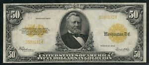 FR1200a $50 1922 GOLD NOTE SMALL SERIAL #s VF+ RARE (ONLY 23 RECORED) WLM5616