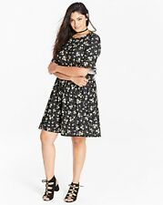 Simply Be Black Floral Print Frill Jersey Swing Dress Size Uk 20 LS170 KK 08