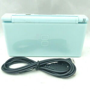 Nintendo DS Lite Ice Blue Handheld Game Console Very Small Hinge Chip [MS00]