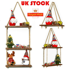 UK Rustic Wooden Hanging Rope Shelf Handmade Solid Natural Wood Floating Shelves