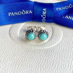 Authentic Pandora December Blue Turquoise Birthstone Stud Earrings #290543TQ