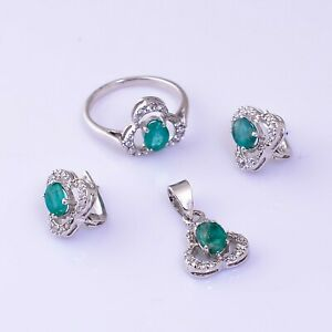 Natural Emerald Faceted Oval Gemstone 925 Sterling Silver Women Jewelry Set