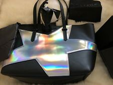 Kendall + Kylie Handbag Izzy Star Tote Silver Metallic Pouch DUST BAG & Dog!!!
