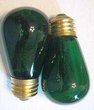2 Transparent Green Marquee/Sign/Amusement Park/Party Light Bulbs Standard Base