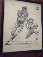 1960 SHELL OIL PRINT NY GIANTS BOB SCHNEKLER GETS UNDER A LONG ONE BY R. RIGER