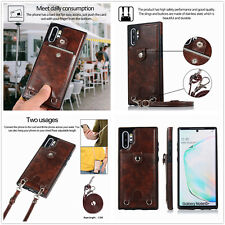 Brown Long strap Hybrid Leather cover skin case card holder for Samsung iphone