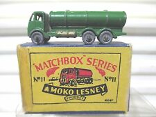 Lesney Matchbox 1955 GREEN RW11A1 Road Tanker Crimped Axles MetalWhls Excnt Boxd