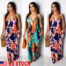 Women Boho Floral Long Maxi Dress Evening Party Beach Dresses Summer Sundress US