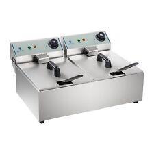 Elektrische Doppel Friteuse Fritteuse Fritöse Kaltzonen 20 L 6400 W Edelstahl