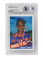 Dwight Gooden Signed Mets 1985 Topps Rookie Card #620 w/85 ROY (Beckett/Auto 10)