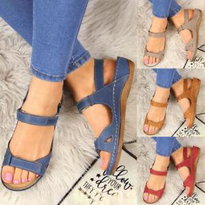Womens Summer Orthopedic Wedge Sandals Casual Walking Slingback Flat Shoes UK