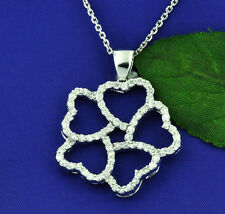 18k Solid White gold Natural 5 heart Diamond pendant 1.50 ct made in USA