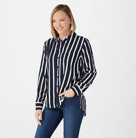 Rachel Hollis Ltd. Striped Button Front Shirt - Navy - Reg 16
