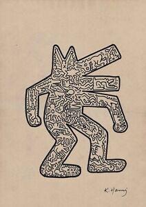 Keith Haring original drawing signed Barking Dog