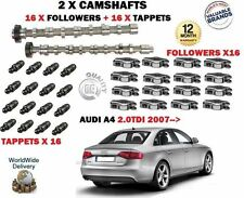 FOR AUDI A4 2.0 TDI 2007->NEW 2X CAMSHAFT CAM SET & 16x TAPPETS + 16x FOLLOWERS