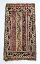 Antique 19th century Caucasian Small Throw Rug, geometric, wool pile, reds