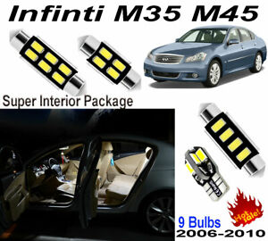 9 Blubs Super White LED SMD Interior Light Kit For Infiniti M35 M45 2006-2010