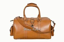 WEEKEND Bag Leather TAN DUFFLE STYLE TRAVEL GYM REAL LEATHER