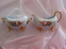 Hand Painted Limoges Cream & Sugar Set with Roses