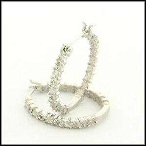"""New 925 Sterling Silver Genuine Diamond 3/4"""" in Diameter Hoop Earrings"""