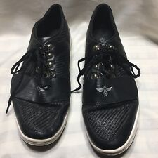 Black Leather Creative Recreation Tennis Shoes 12 Office Career Work