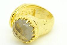 Ottoman Gems semi precious gem stone ring gold plated smoky quartz statement