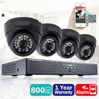 4 Indoor Outdoor IR Home Surveillance Camera System 24 LEDs 4 CH 960H DVR 65FT M