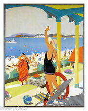 old Weymouth seaside  uk Travel  Poster print art deco painting canvas vintage