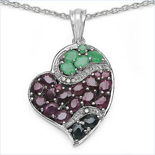 Edles Collier/Halskette Diamant/Smaragd/Rubin/Saphir-Anhänger 4,77 Karat