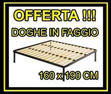 RETE MATRIMONIALE 160X190 CM IN FERRO CON DOGHE DI LEGNO ORTOPEDICA