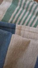 LEINEN STOFF PAKET  B 50 cm  ges. 754 cm,  DERB Streifen grün/grau/blau  Rest