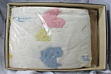 Vintage MINT NIB 1950s QUILTEX Embroidered Baby Blanket quilt Quiltron acetate