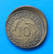 Allemagne Germany Weimar OFF CENTER STRIKE 10 reichspfennig 1924 D FAUTE
