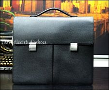 MINT Authentic Louis Vuitton Dark Gray Leather Taiga Briefcase Attache Bag Mens