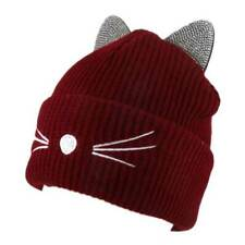 ADORABLE BURGUNDY  KITTY CAT KNIT BEANIE HAT WITH RHINESTONE EARS