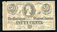 """T-63 PF10 1863 50 CENTS CSA CONFEDERATE STATES OF AMERICA """"ADVERTISING NOTE"""""""