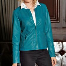 Laura Kent Lederjacke In Modischer Waschung Blau