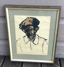 Vintage Signed Mathieu Mid Century Expressionism Ink Painting Male Portrait