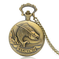 Fish Theme Quartz Pendant Necklace Retro Steampunk Pocket Watch Vintage Modern