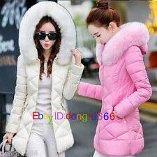 Pop Womens Winter Coat Jacket Down Padded Fur Collar Warm Long Hooded Outwear