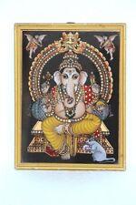 New Tanjor Glass Painting Ganesha Home Decor Collectible J-82