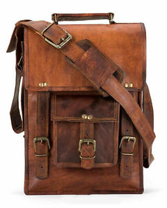 "11"" High Quality Genuine Leather Handcrafted Messenger Laptop Tablet Briefcase"