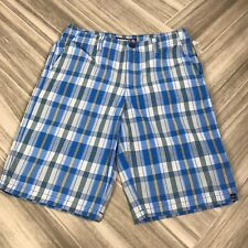 Quicksilver Boys Plaid Skater Shorts Size 28 Blue Yellow Daily Casual