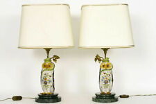PAIR french hollywood regency rouen Ceramic polychrome owl Figurine table lamps