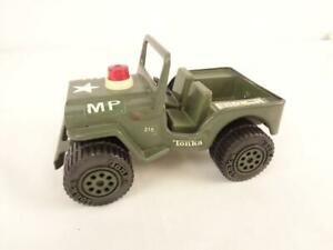 "Vintage 1970's Tonka Army MP MIlitary Police 6"" Pressed Steel Jeep"