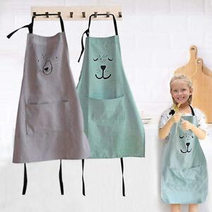 Child Chef Apron Cooking Baking Kitchen Kids Children Lovely Painting Cotton Bib