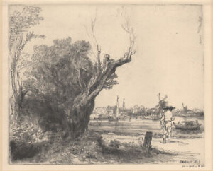 REMBRANDT - VIEW AT OMVAL * ART HALFTONE PRINT 1939